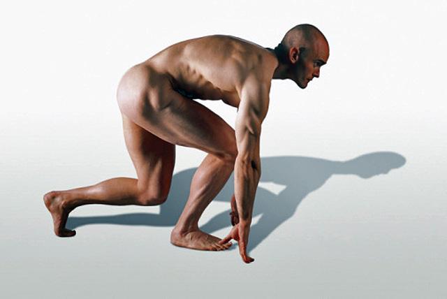 hombre antes del esfuerzo fisico