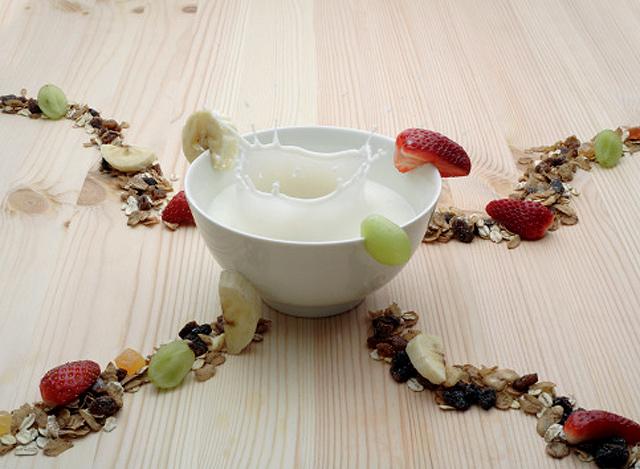 bol de leche y cereales