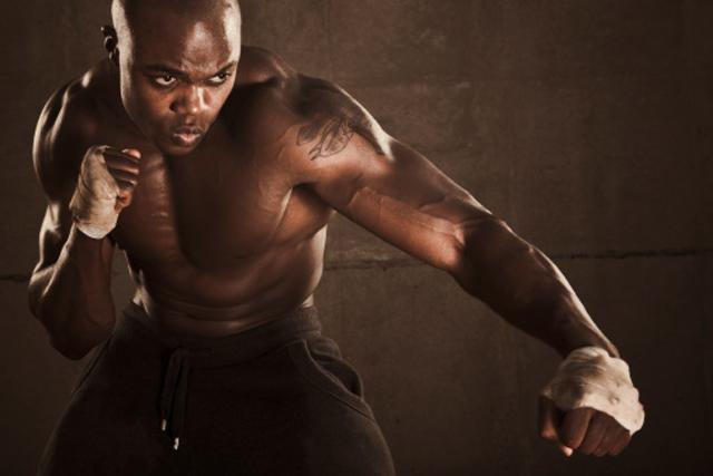 Boxeador entrenando