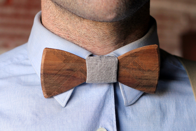 La pajarita de madera de Two guys Bow Ties