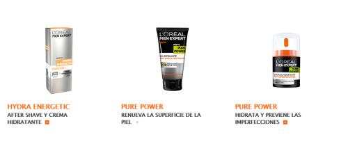 Productos de cuidado facial de la gama L'Oréal Men Expert